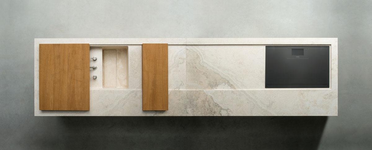 stone kitchen - cucina in pietra   white travertine - travertino bianco   Vaselli